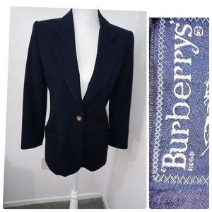 Burberry Navy Blue Wool Vintage Blazer Size 2